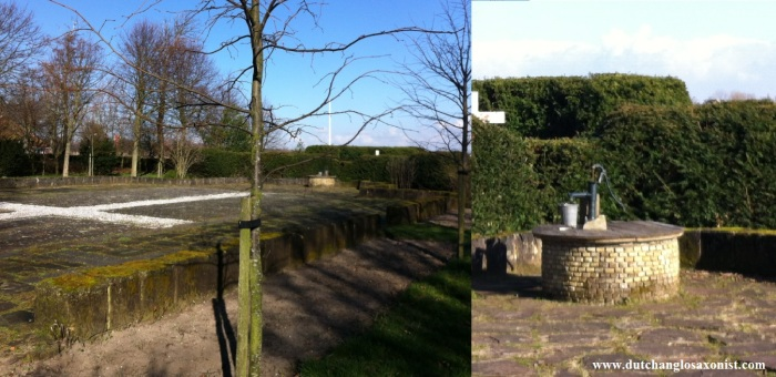Adelbertusakker, Egmond. Left: Outlines of late medieval stone church; Right: Well of Adalbert.