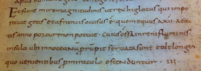 Et fiunt mire magnitudinis ut rex Higlacus qui imperauit Getas… Leiden, UB, VLO 60, fol. 3r.