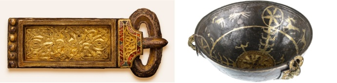 The Rijnsburg belt buckle and the Oegstgeest bowl. Both are part of the collection of the Dutch National Museum of Antiquities in Leiden.