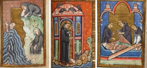 Scenes from Bede's Life of St Cuthber: Otters lick Cuthbert's feet; Crows bring Cuthbert lard; Cuthbert in his coffin. © The British Library, Yates Thompson 26 (Source)